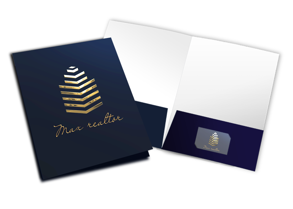 Raised Metallic Foil, Raised Spot UV, Scodix, Pocket Folders, Business Cards, Luxury Marketing Materials